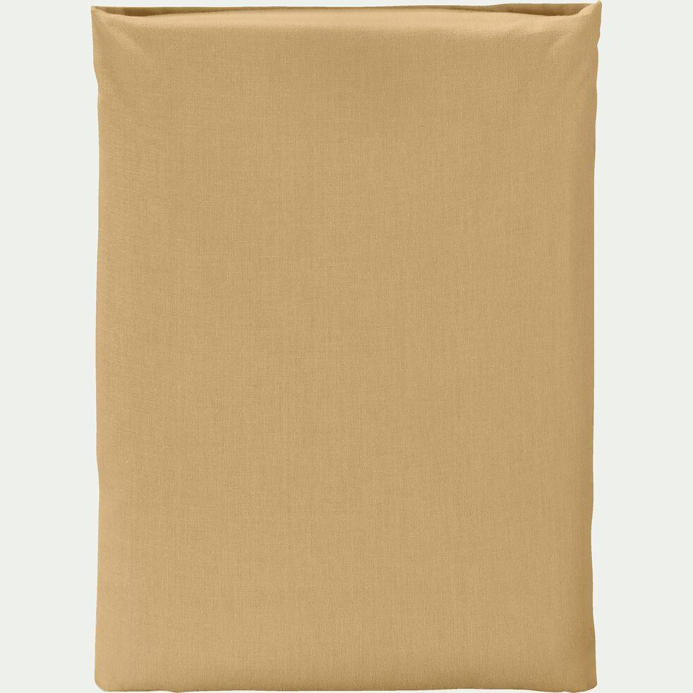 Drap plat en coton - beige nèfle 180x300cm-CALANQUES
