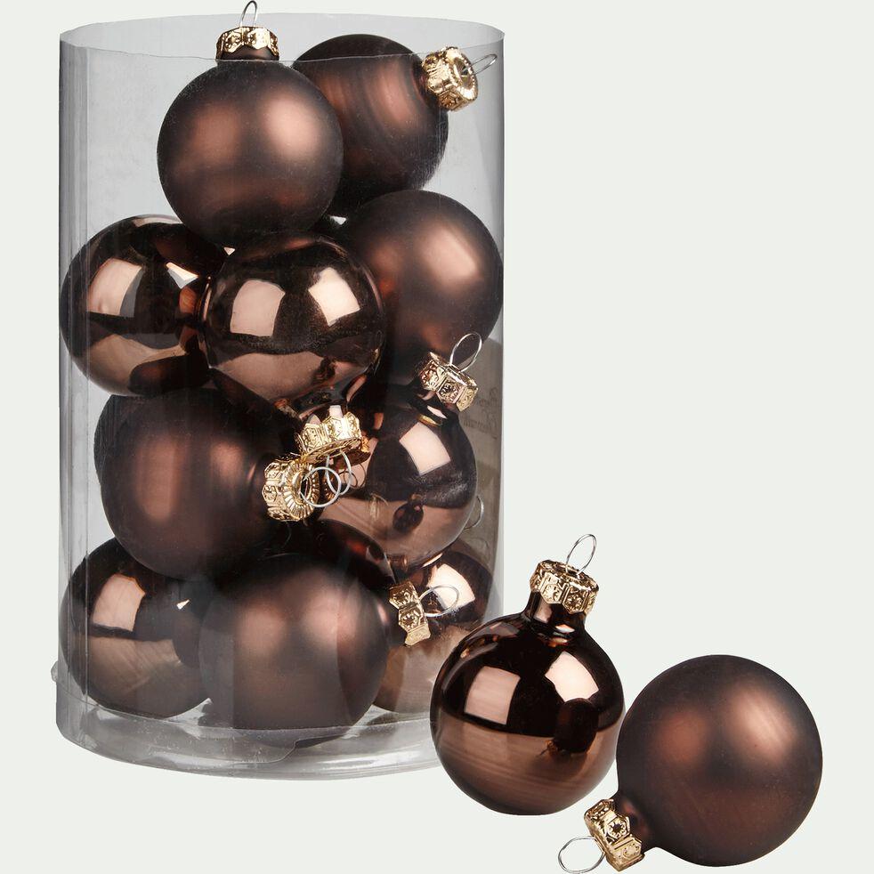 16 boules de Noël marron en verre brillant et mat D3.5cm-MINIBOULE