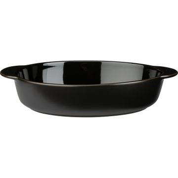 Plat à four ovale en grès noir L 27cm-MIOU