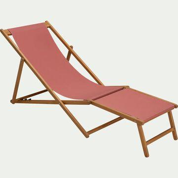 Chilienne et repose pied de jardin en acacia et tissu - rouge ricin