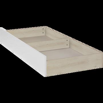 Tiroir de lit à roulettes effet cerisier blanchi - L200 cm-BROOKLYN