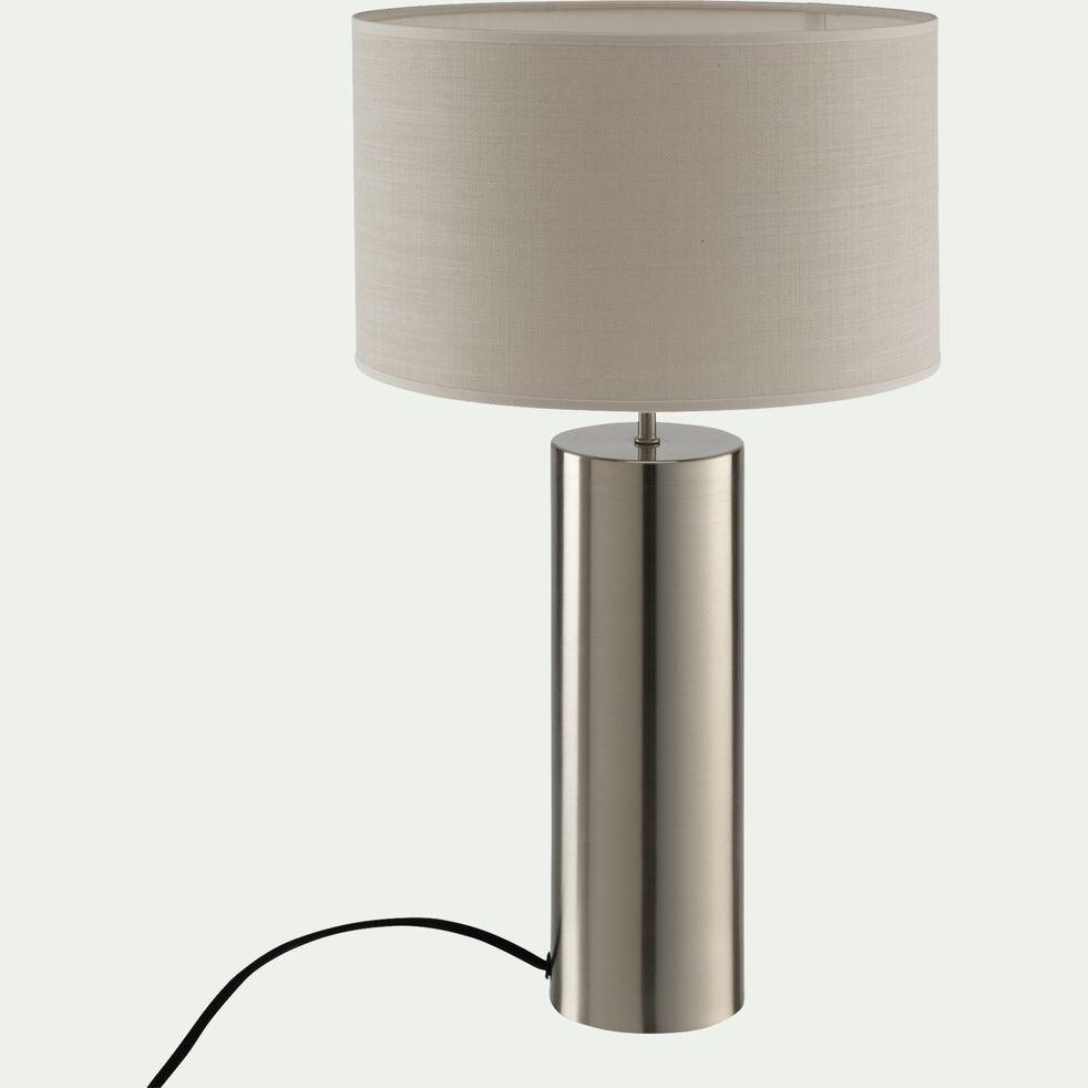 Lampe en acier argenté - beige roucas H41cm-AGATHA