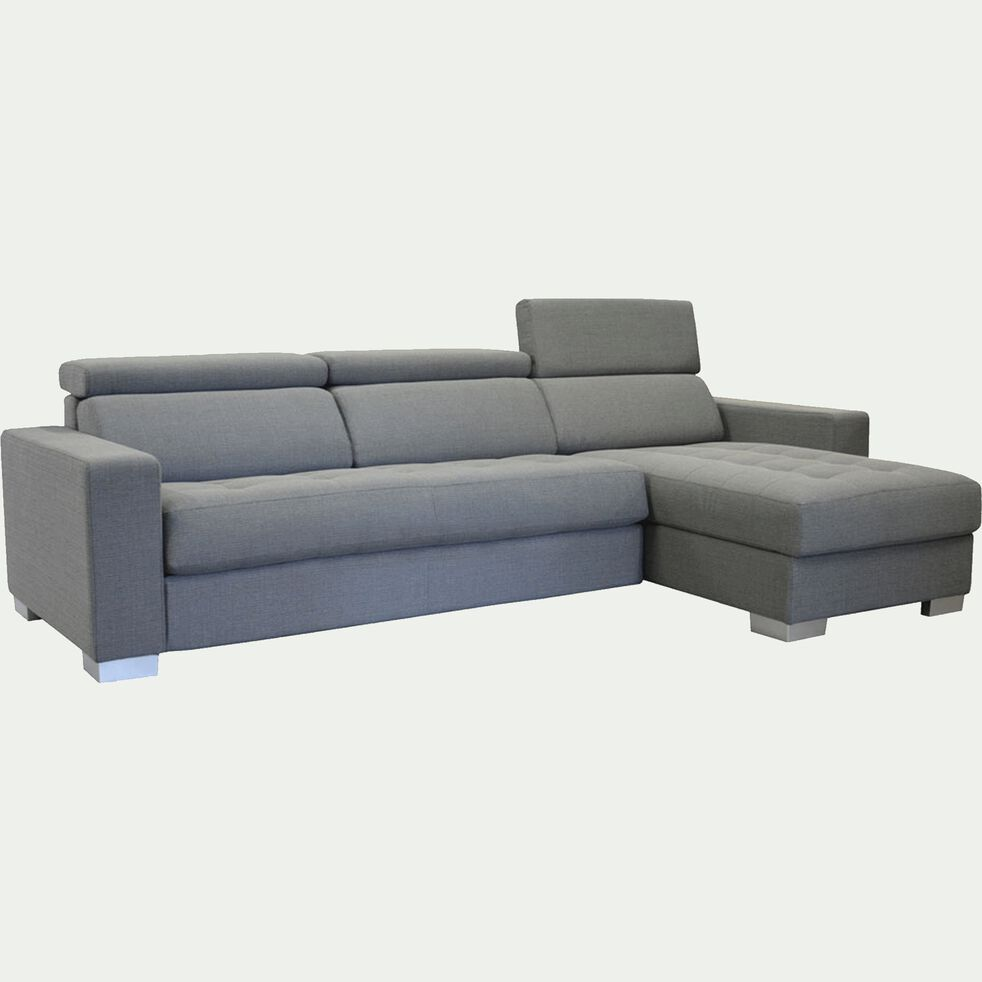 Canapé d'angle réversible fixe en tissu - gris clair-Mauro