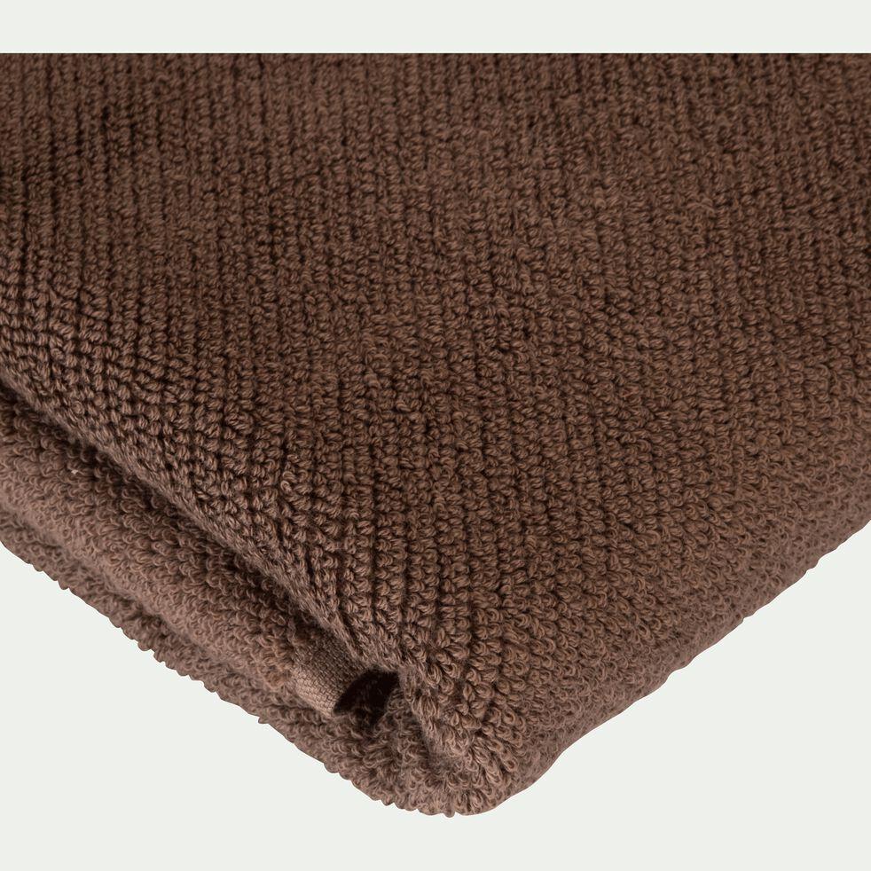 Drap de bain bouclette en coton bio - brun châtaignier 90x150c-COLINE