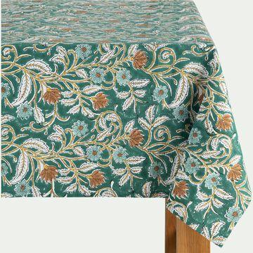Nappe à motif floral en coton - vert 140x250cm-SARINEELA