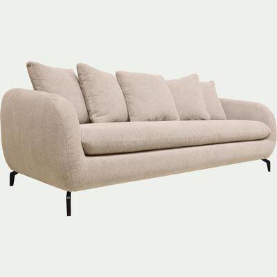 Canapé convertible 4 places en tissu tramé piétement noir - beige roucas-COLINE