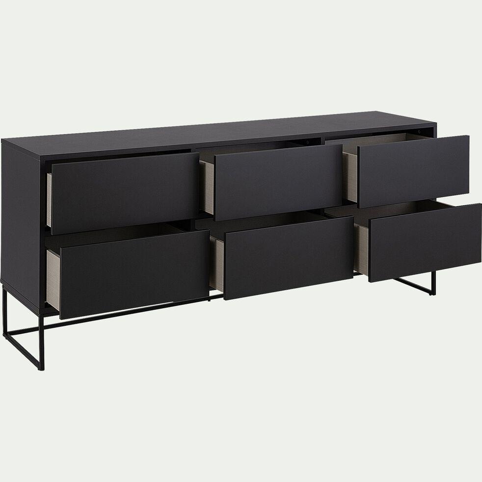 Buffet bas 6 tiroirs en bois et acier - noir mat-CARRY