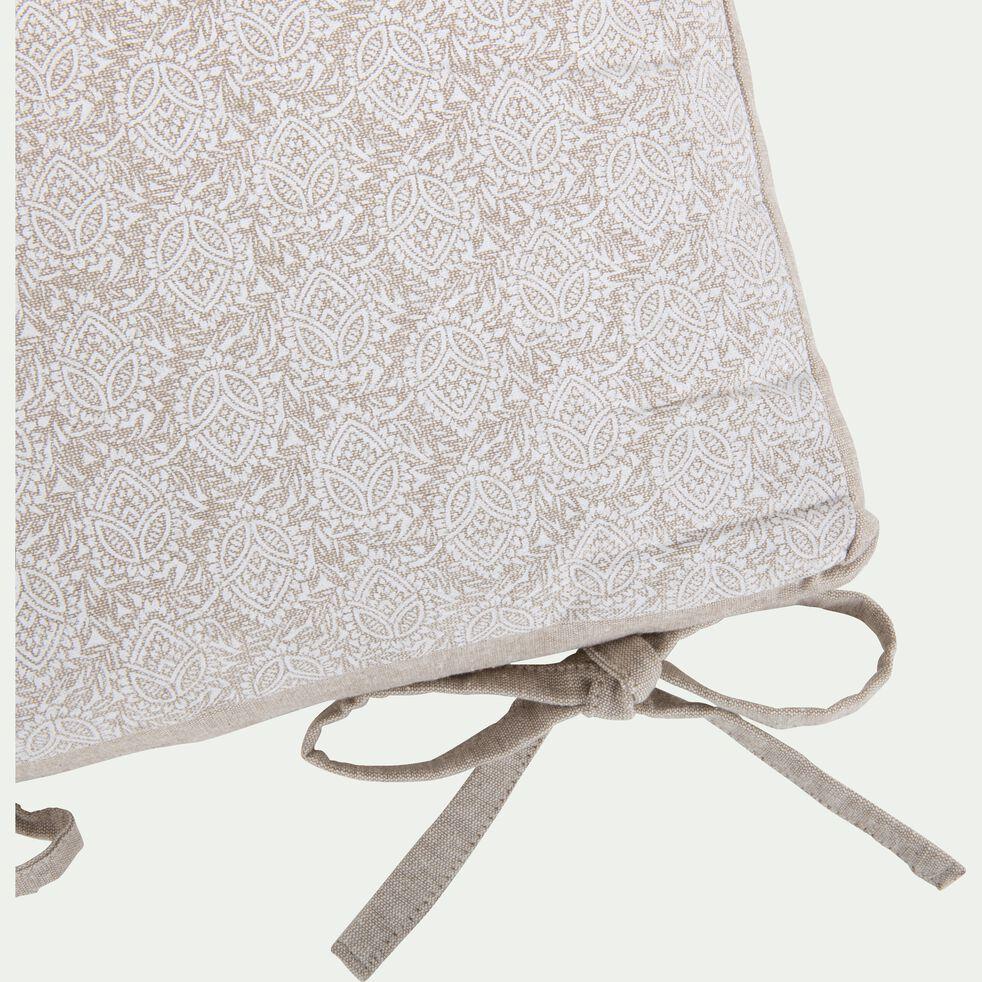 Galette de chaise motif Amande en coton - vert olivier 38x38cm-AMANDE