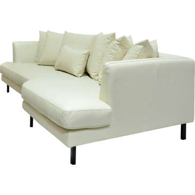 Canapé 5 places fixe droit en cuir beige roucas-TESSOUN