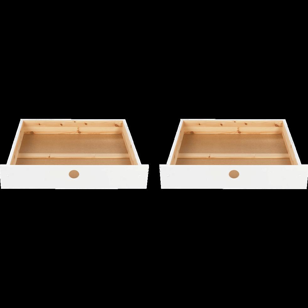 Lot de 2 tiroirs de lit enfant à roulettes Blanc pour lit Kikou-KIKOU