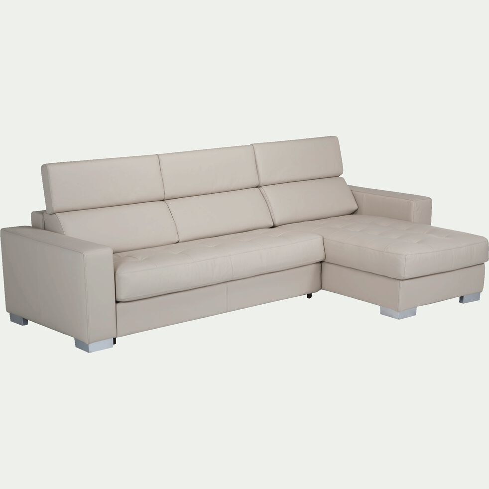 Canapé d'angle réversible convertible en cuir de buffle beige-Mauro