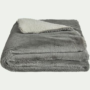 Plaid imitation fourrure en polyester - gris restanque 230x250cm-MARIUS