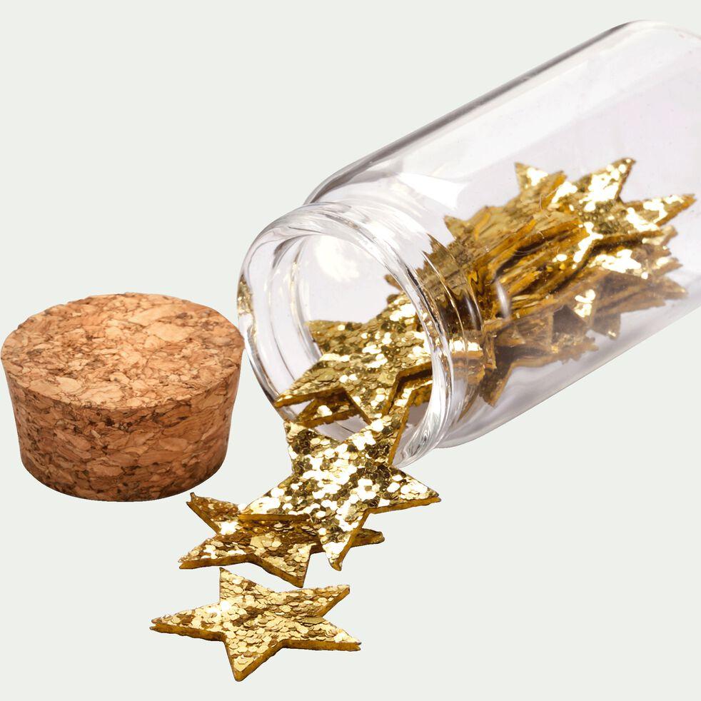 Boîte d'étoiles déco 0,1x2,5x2,6cm en tissu - doré métallisé-NOVA