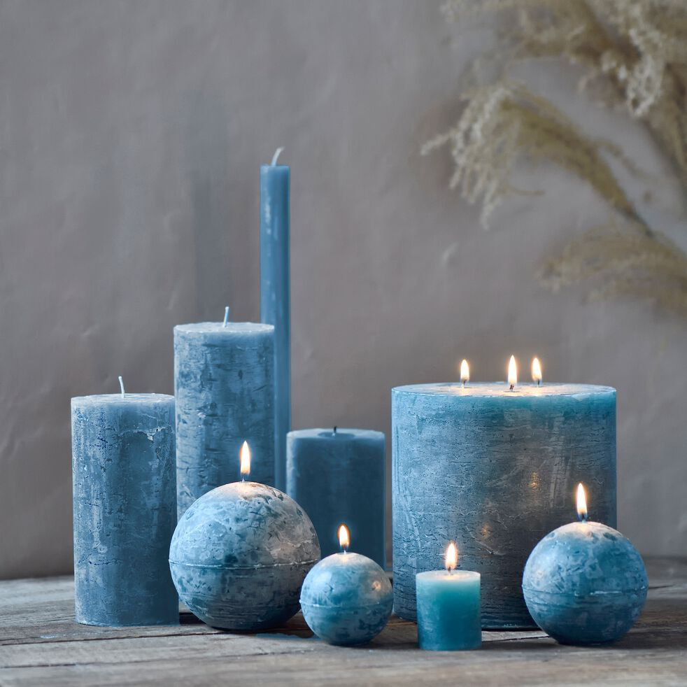 Bougie votive - bleu niolon H4,5cm-BEJAIA