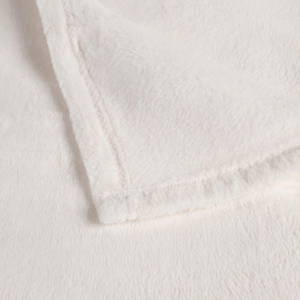Plaid effet polaire en polyester - blanc ventoux 130x170cm-ROBIN