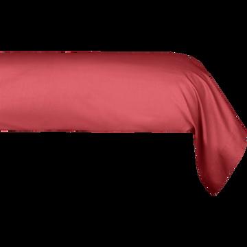 Taie de traversin en coton Rouge arbouse 43x190cm-CALANQUES