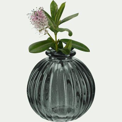 Vase rond strié en verre - gris H8cm-Doko
