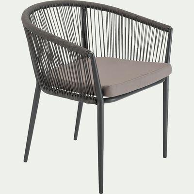 Chaise de jardin avec accoudoirs en aluminium et corde - gris ardoise-ANTALIA