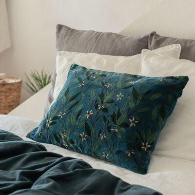 Coussin motif Fleur d'oranger en velours - vert 40x60cm-ORANGER