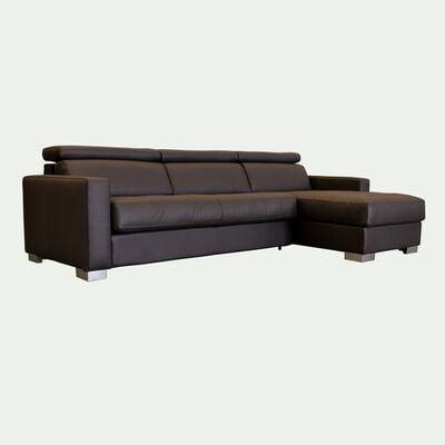 Canapé 4 places convertible en cuir avec angle reversible et accoudoir 15cm - marron-MAURO
