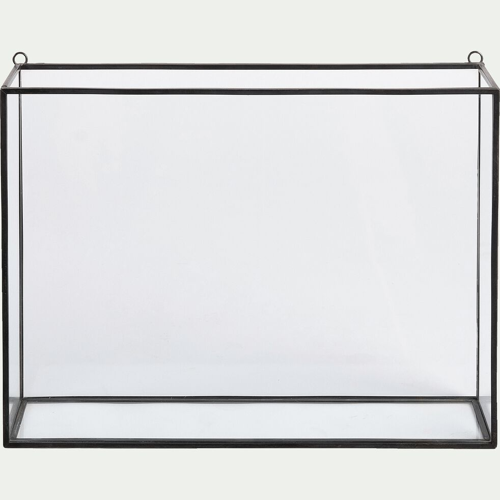 Vitrine murale en verre et métal - noir-BIBIO