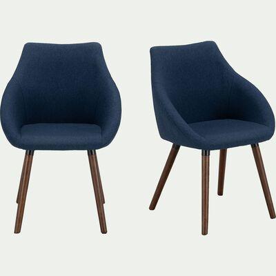 Chaise en tissu pieds effet noyer avec accoudoirs - bleu figuerolles-NOELIE
