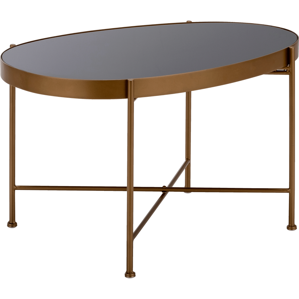 table basse en acier dor e avec plateau en verre noir bari tables basses alinea. Black Bedroom Furniture Sets. Home Design Ideas