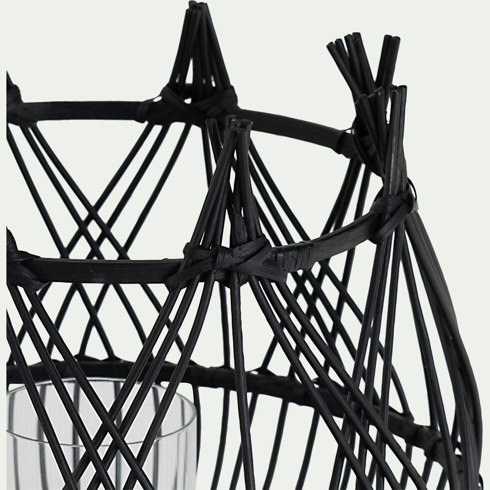 Photophore ajouré en rotin - noir D32,5cm-APALUNI