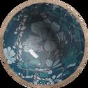 Saladier en manguier et résine bleue décoré D30cm-APHELIE
