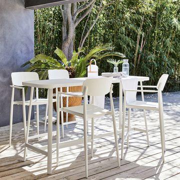 Table haute et chaise de bar de jardin en aluminium - blanc