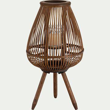 Lanterne sur pied en bambou - naturel D34xH43cm-ABHONA
