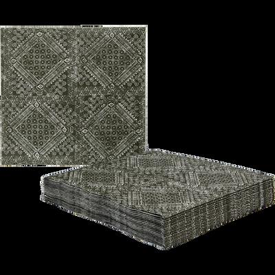 Lot de 20 serviettes en intissé vert à motifs 40x40cm-BATIK