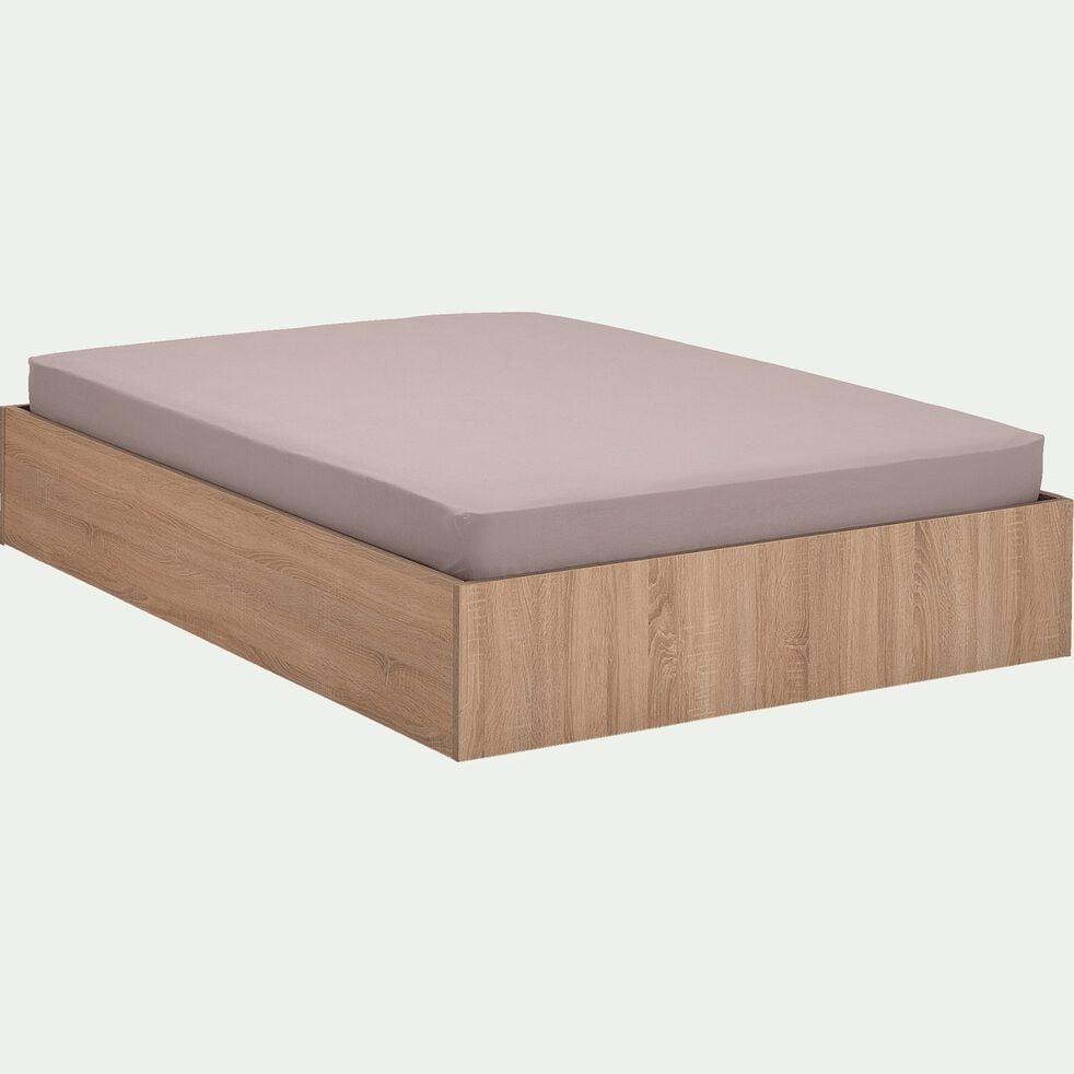 Lit-coffre 140X200cm effet chêne blanchi-BALME