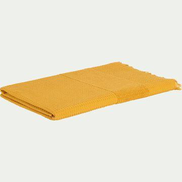 Drap de bain bouclette et nid d'abeille en coton - jaune 100x150cm-TOMAR