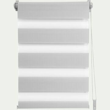 Store enrouleur tamisant gris clair 82x190cm-JOUR-NUIT