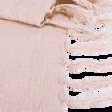 Plaid à franges en coton rose grège 130x170cm-CALANQUES