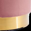 Pouf en velours grand modèle rose D55cm-AUVE
