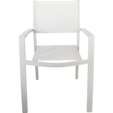 Fauteuil de jardin empilable blanc en textilène-ELSA