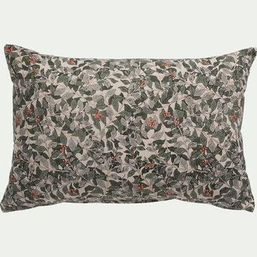 Coussin motif Arbousier en coton - vert 40x60cm-ALBILIO