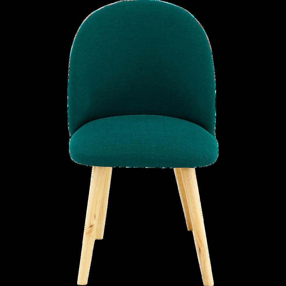 Chaise rétro en tissu vert profond-SERAPHINE