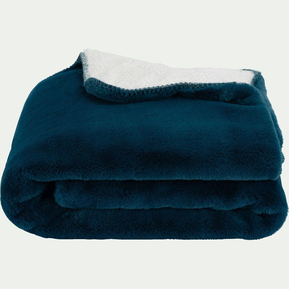 Plaid imitation fourrure en polyester - bleu figuerolles 180x220cm-MARIUS