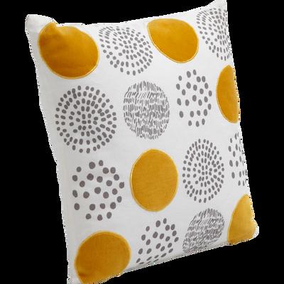 Coussin en coton à motifs cercles en velours jaune 40x40cm-RONDISSIMO