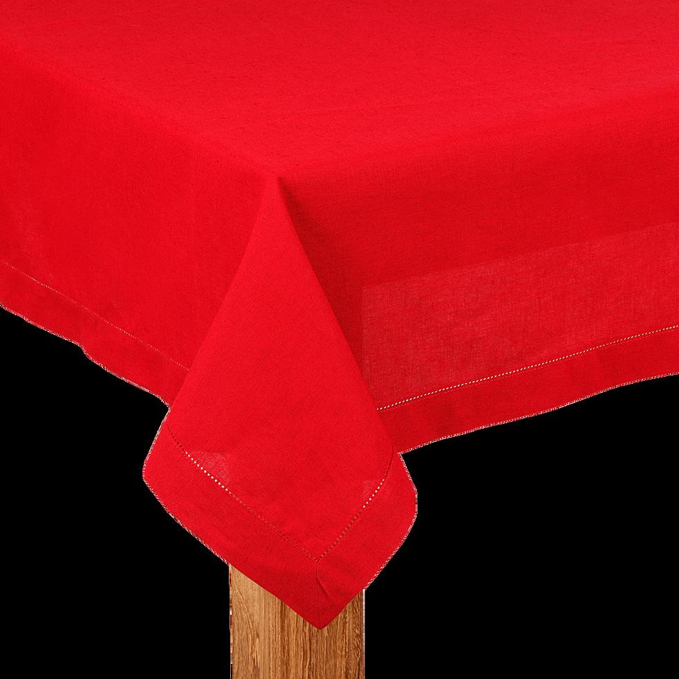 Nappe carrée en coton et lin rouge 170x170cm-Trevise