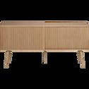 Buffet plaqué chêne avec portes coulissantes-LISTU