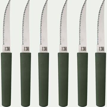Bloc de 6 couteaux de table bi-matière et bio matière - vert-LINE