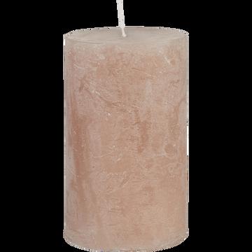 Bougie cylindrique rose argile H11cm-BEJAIA