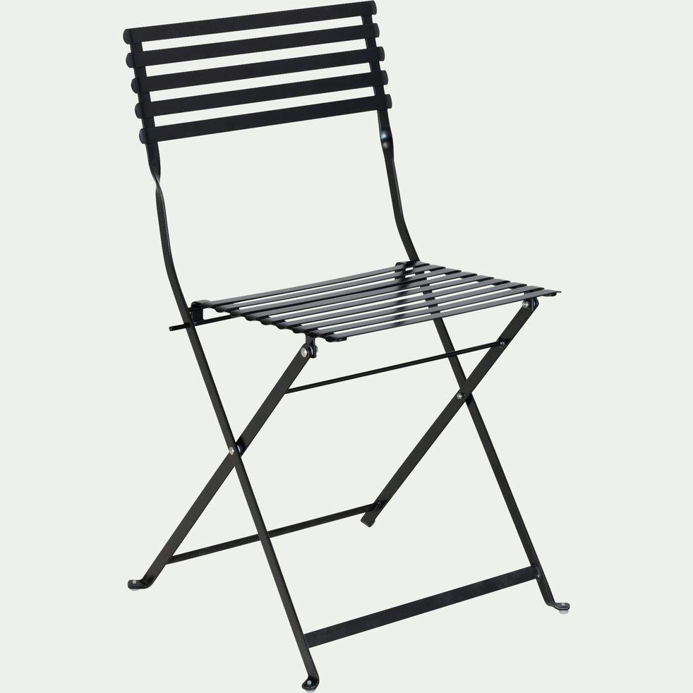 Chaise de jardin pliante en acier - noir-CERVIONE