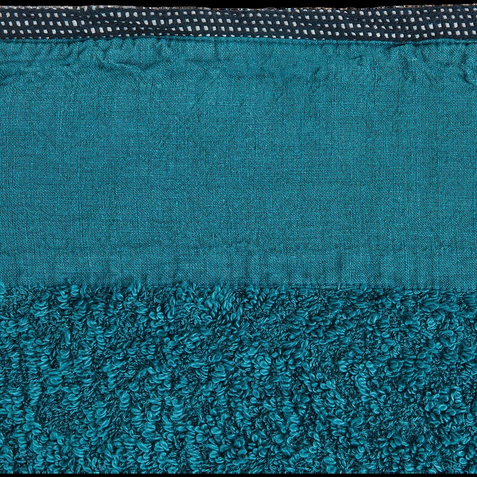 Serviette invite coton et lin 30X50cm bleu niolon-ADONI