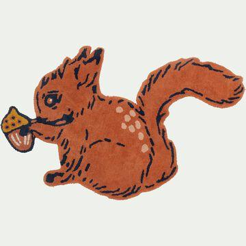 Tapis enfant tufté main forme écureuil 80x100cm - marron-Joio