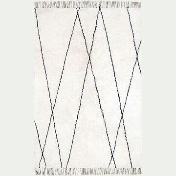 Tapis à motifs géométriques en coton - blanc et noir 140x200cm-BENISSE